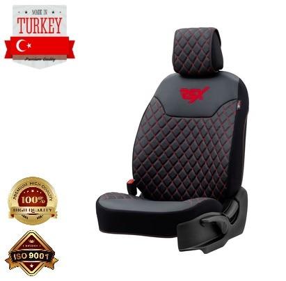 Автомобильная подушка для сиденья серия Diamond RSXD101 черная искусственная кожа красный стежок универсальный дизайн