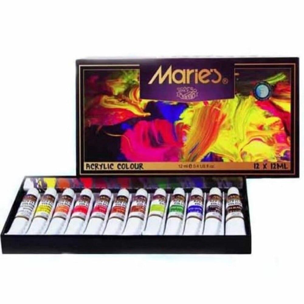 12/18Pcs 12ml Colors Acrylic Paint Set Professional Fabric Canvas Stone Wood Water Resistant Art Supplies DIY Peinture Acrylique