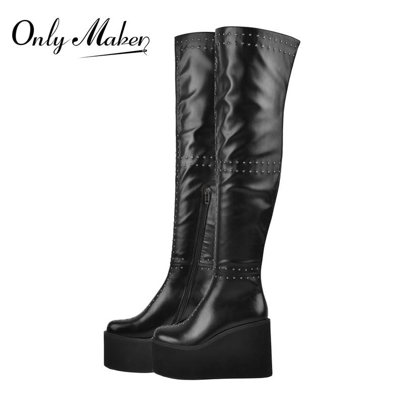Onlymaker مثير أسافين عالية الكعب فوق الركبة أحذية النساء تمتد أحذية طويلة السيدات برشام الربيع الخريف WinterLong الأحذية الأحذية