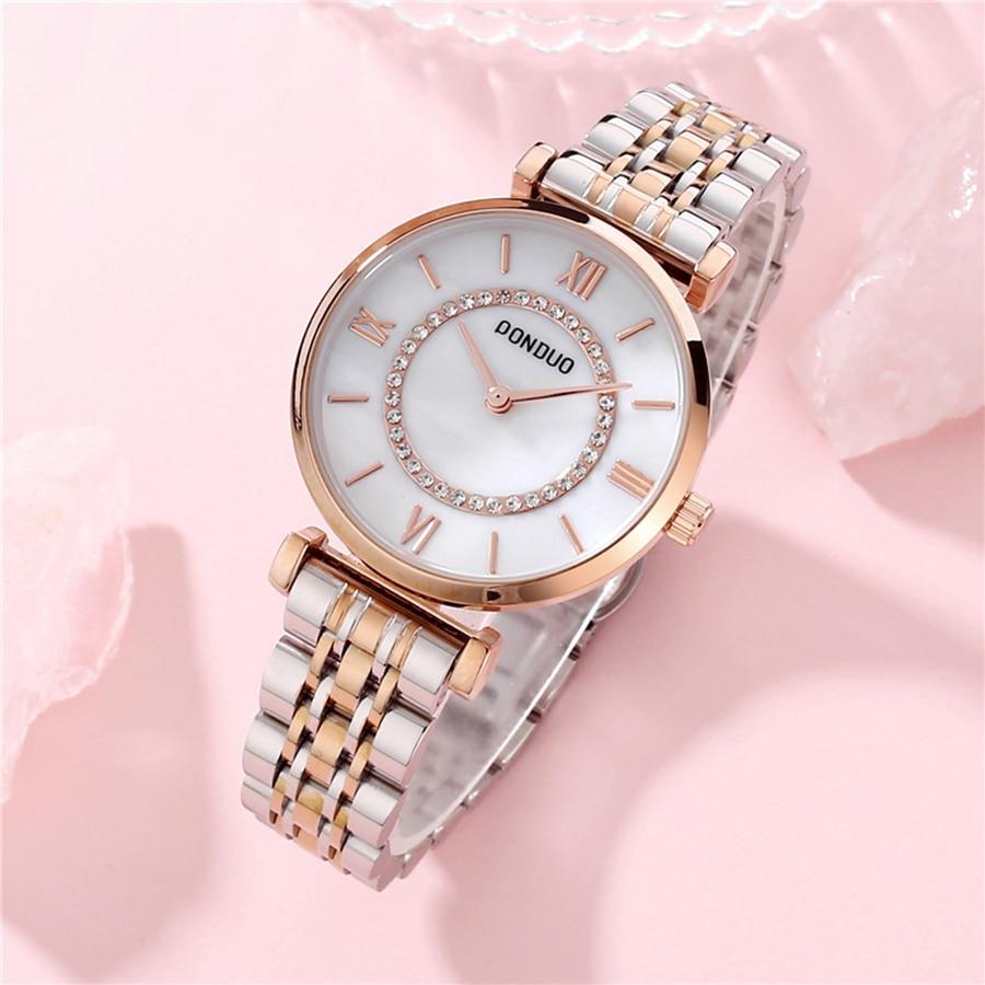 Women's Watches Brand Luxury Fashion Ladies Dress Watch Women Water Resistant Gold Stainless Steel Diamond Womens Quartz Watches