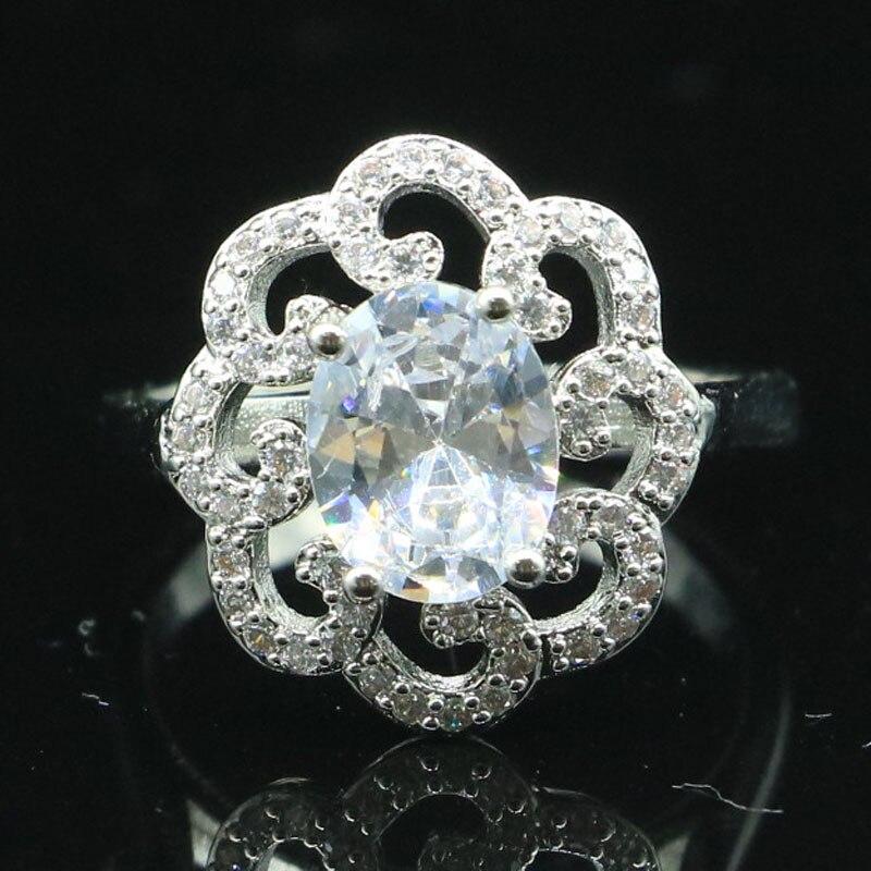 17x15mm 2020 recién llegado creado zafiro blanco CZ regalo para anillos de plata hermanas
