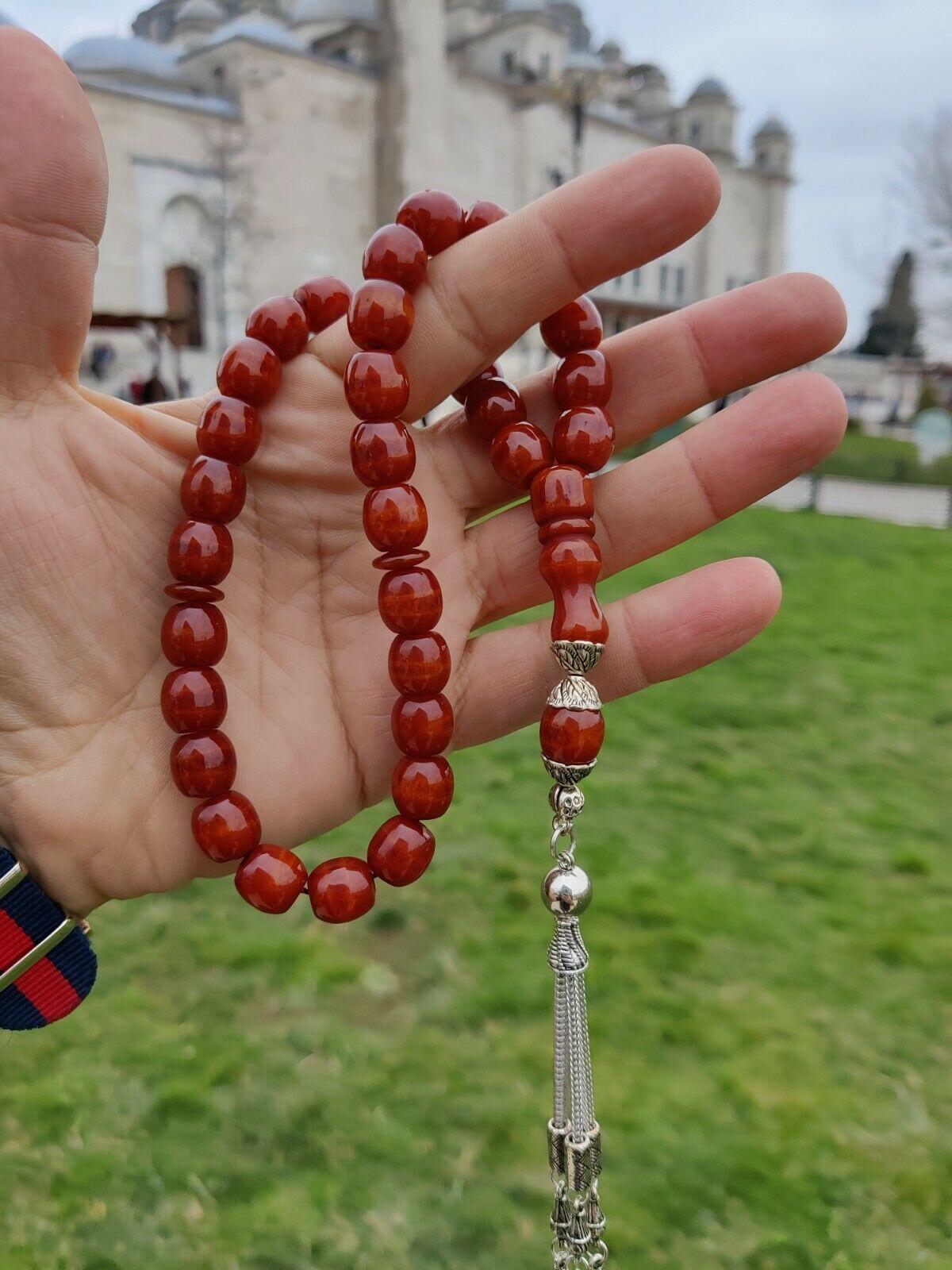Ottoman Faturan German Amber Sandalous Misbaha Prayer Beads Islamic Gift Tasbih Tasbeeh Tasbeh Rosary Tasbih # 12F