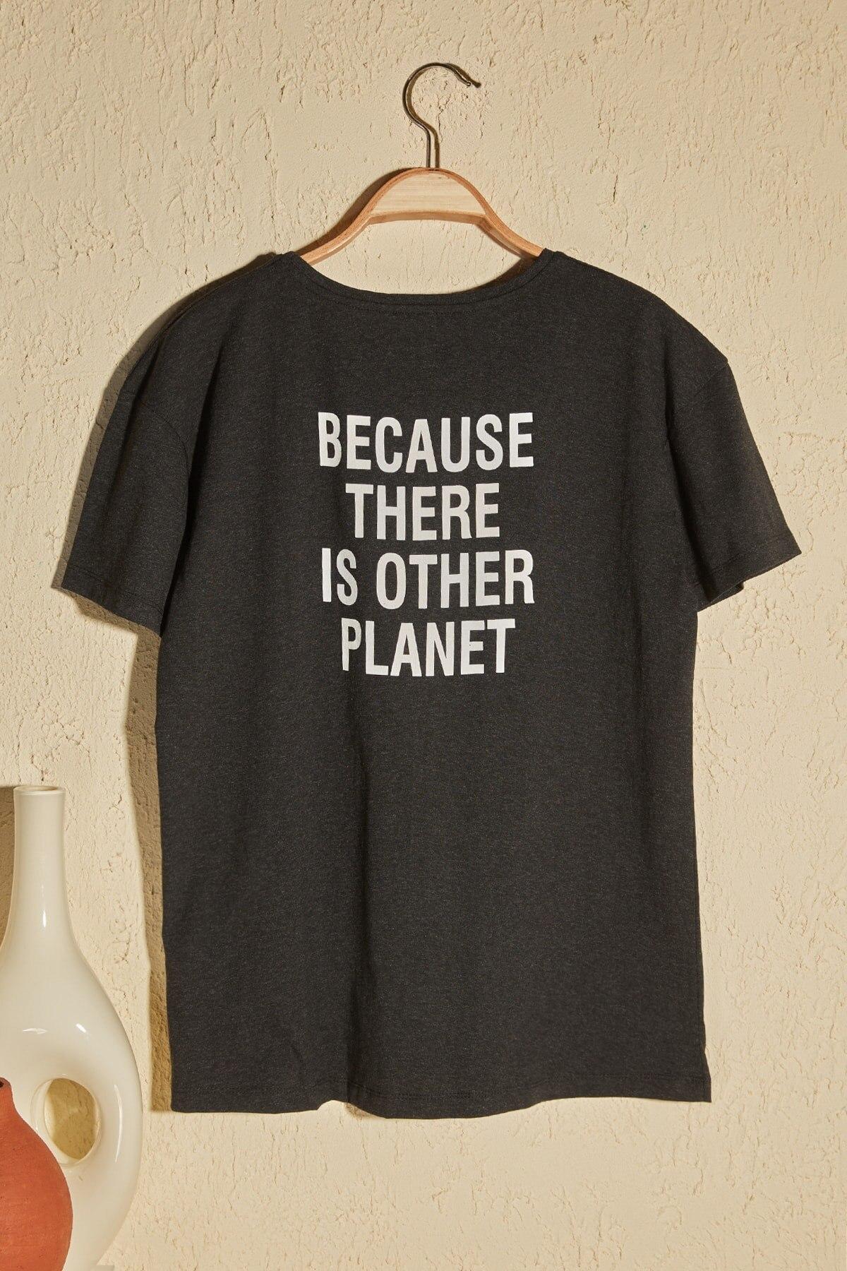 Camiseta de punto Trendyol con estampado gris para novio, TWOSS19VG0208