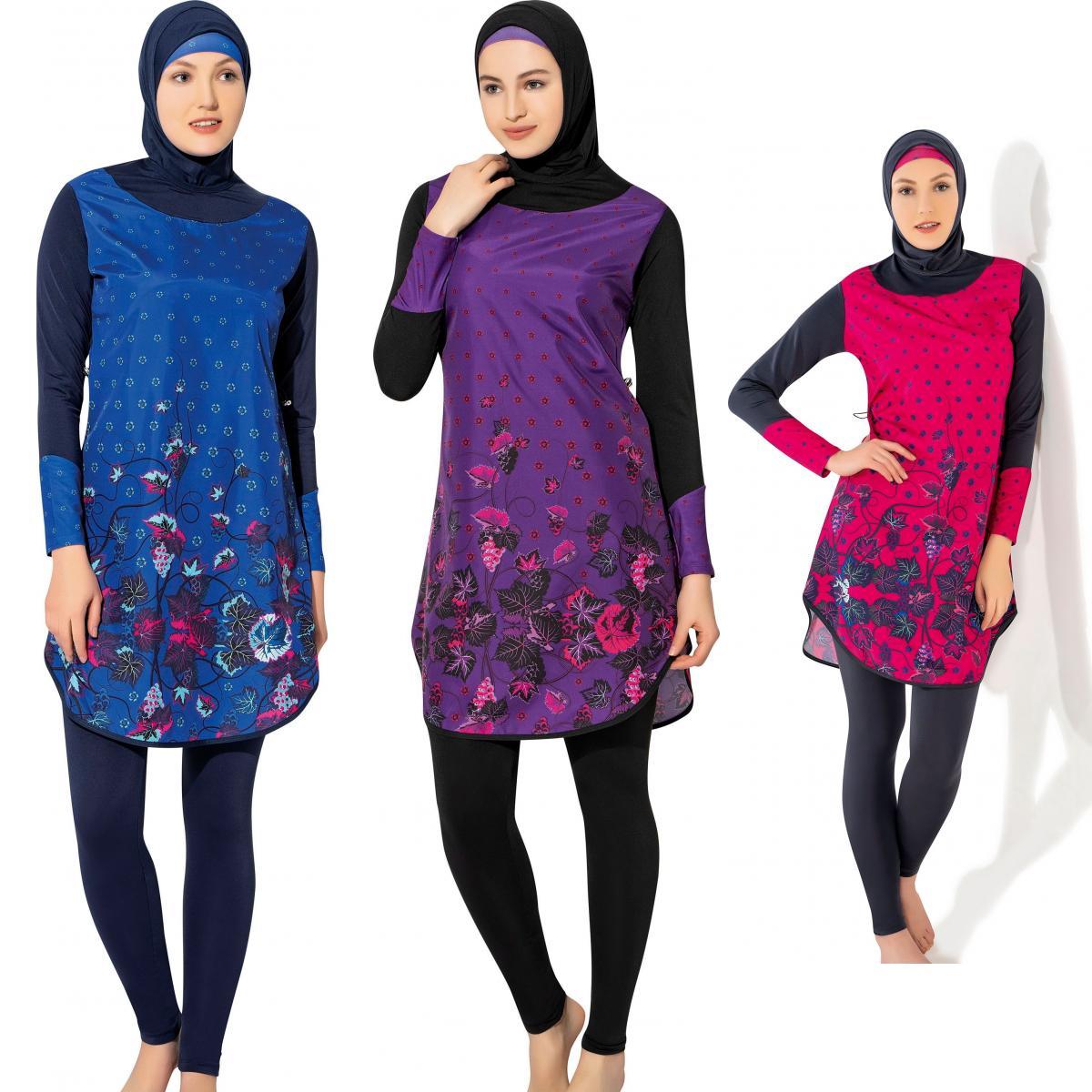Argisa 7115 traje de baño musulmán de manga larga burkini S-XXL cremallera oculta Hijab islámico traje de baño Burkinis cubierta completa de surf de natación