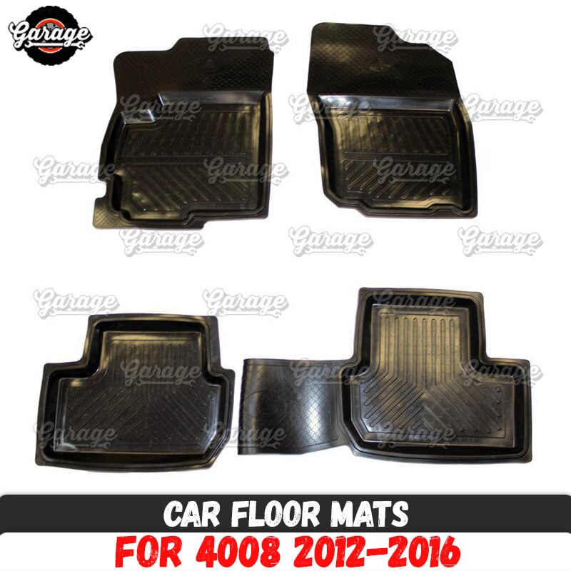 Car floor mats case for Peugeot 4008 2012-2016 rubber 1 set / 4 pcs or 2 pcs interior accessories protect of carpet car styling