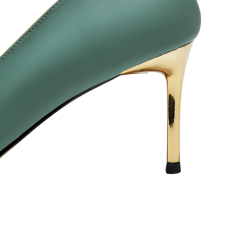 2021 New Women Shoes Heels Sheepskin Pointed Toe Thin Heels 7.5CM Green Off White Party Shoes Size 33-39