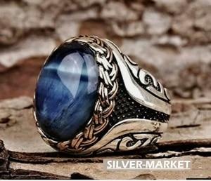 Turkish handmade 925 sterling silver jewelry tiger's eye men's ring