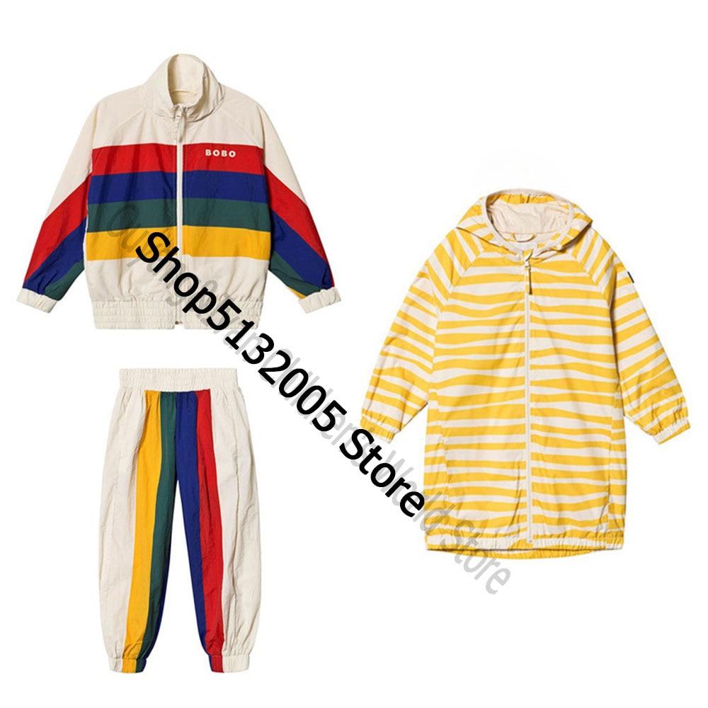 En STOCK 2020 conjunto de tres piezas de rayas para niños primavera otoño nuevo INS BC chaqueta de manga larga para niños traje deportivo para niñas