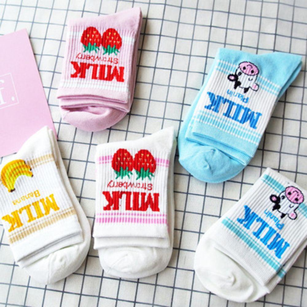 Calcetines con dibujos japoneses Kawaii fresa plátano leche calcetines con vacas bonitas chicas Lolita dulce fruta Zumo de leche calcetines cortos