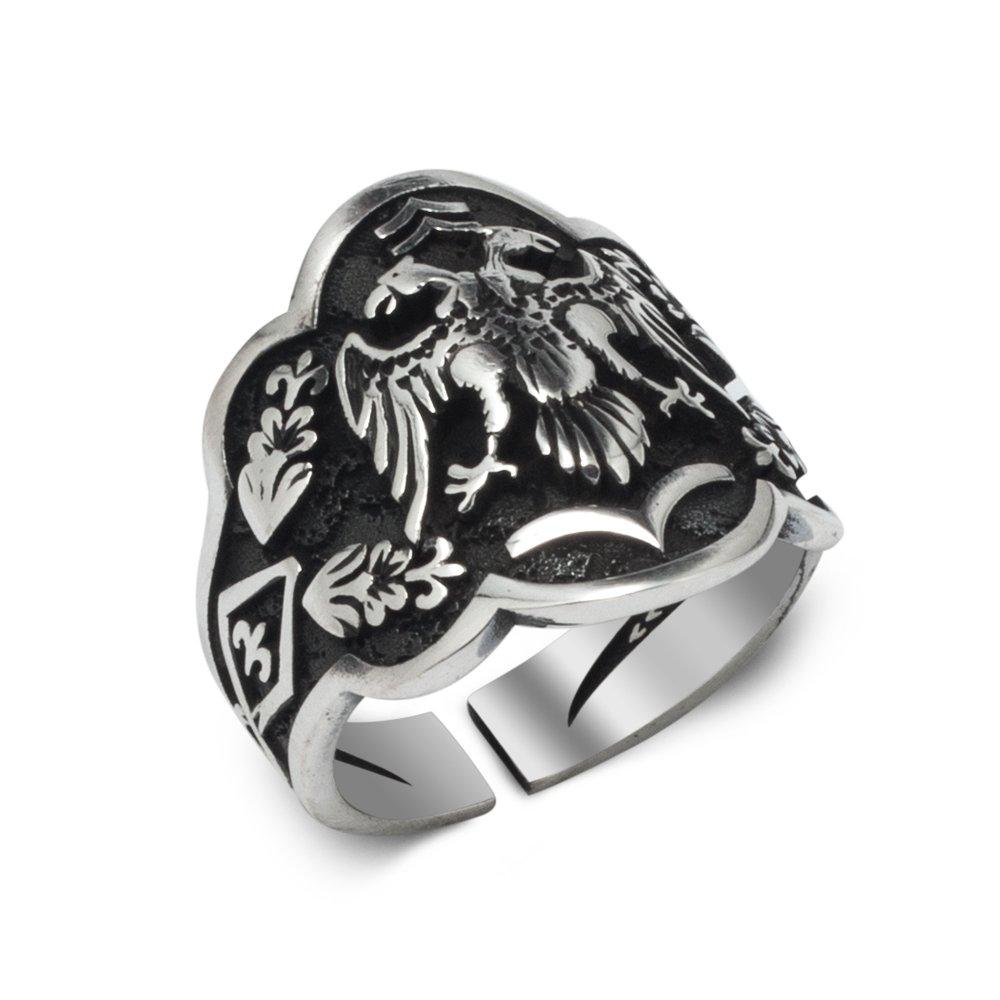 Águila de dos cabezas Archer (Anillo de pulgar tradicional) Modelo 2 anillo de plata