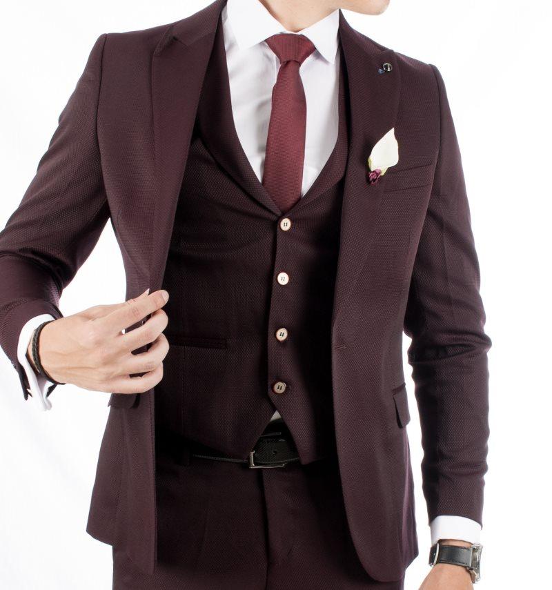 DeepSEA Burgundy Fabric Self Print Single Breasted Italian Fit Men Suit 1810708