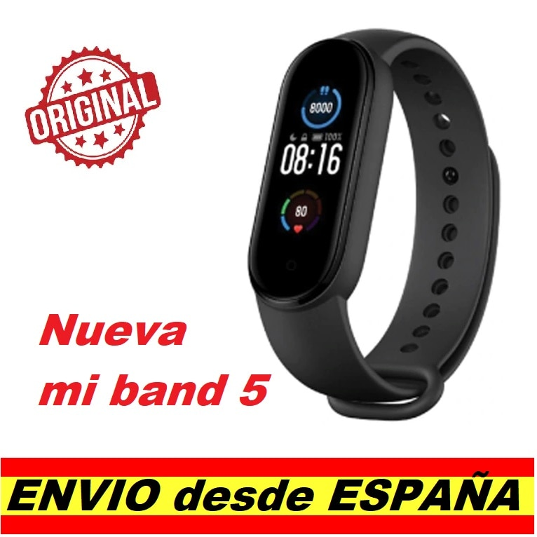 "Nuevo Xiaomi Mi Band 5 1,1 ""AMOLED Monitor de ritmo cardíaco Fitness Bluetooth 5,0 envío a España"