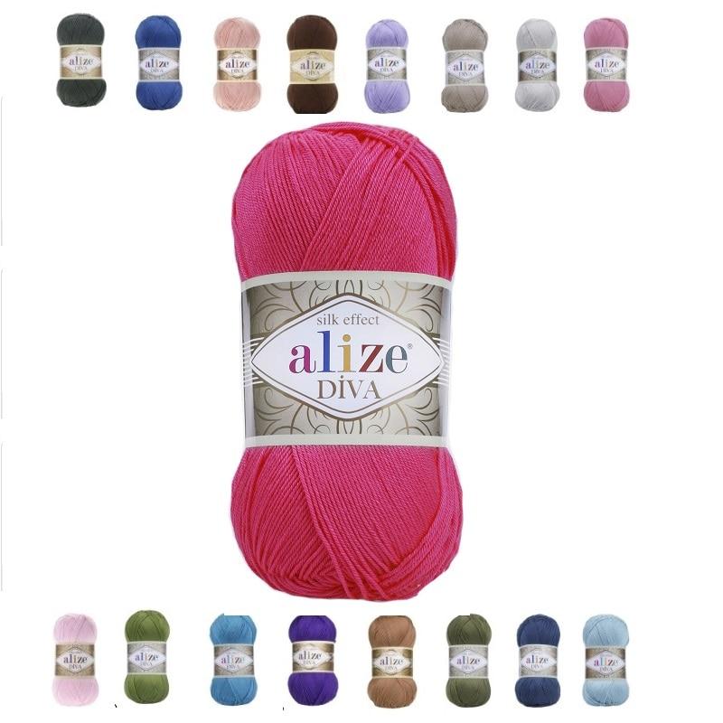 Alize Diva Yarn 100gr-350mt % 100 microfibra acrílica DIY tejer ganchillo suave...