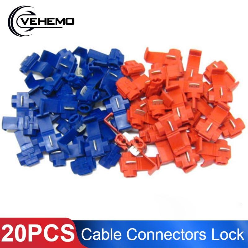 Электрический кабель Vehemo, 20 шт., красные и синие коннекторы, быстрый фиксатор соединения, клеммы для проводов, обжимные зажимы