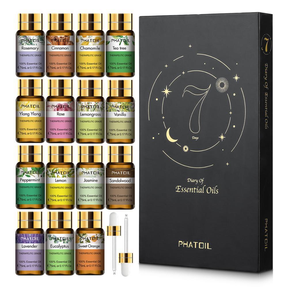 Pure Essential Oils 15pcs Gift Set Natural Plant Aroma Essential Oil Diffuser Eucalyptus Vanilla Mint Lavender Rose Tea Tree Oil