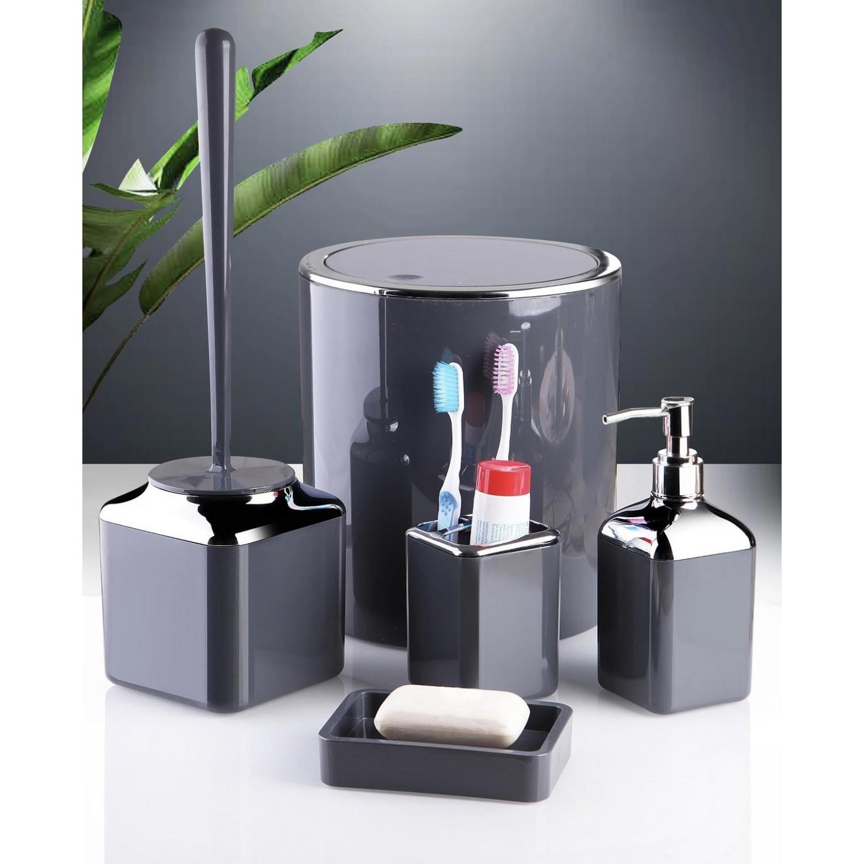 OceanLand Chrome 5 Pcs Bathroom Set Hard Plastic Toothbrush Holder Soap Dispenser ToiletBrush Dustbin Black White Anthracite Red enlarge