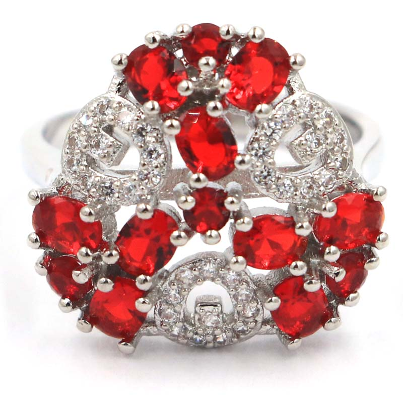 18x11mm 2021 New Arrival Created Red Blood Ruby Cubic Zircon For Sister Silver Rings Daily Wear