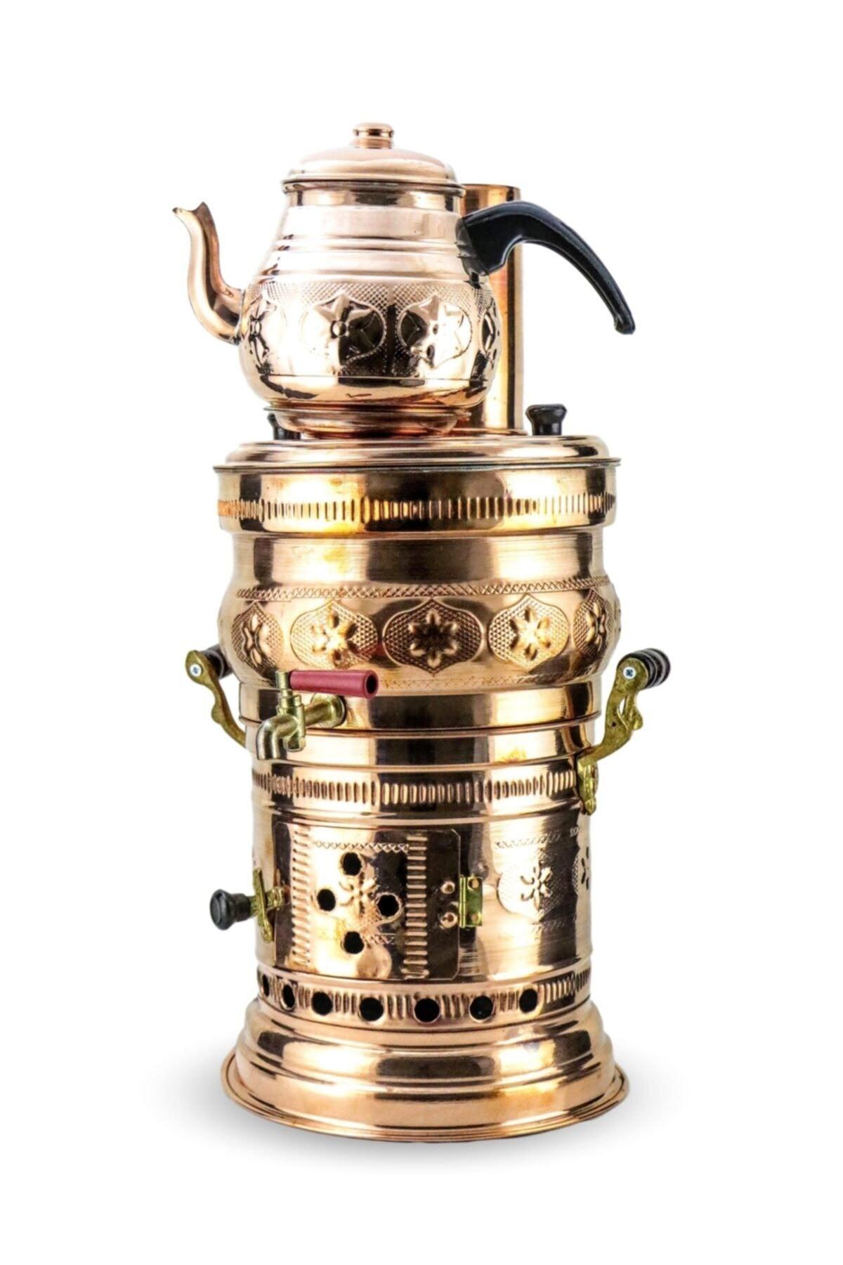 ساموفار-موقد تخييم نحاسي مصنوع يدويًا ، خشب/فحم ، إبريق شاي ، غلاية شاي ساموفار ، سخان مياه للشواء في الهواء الطلق