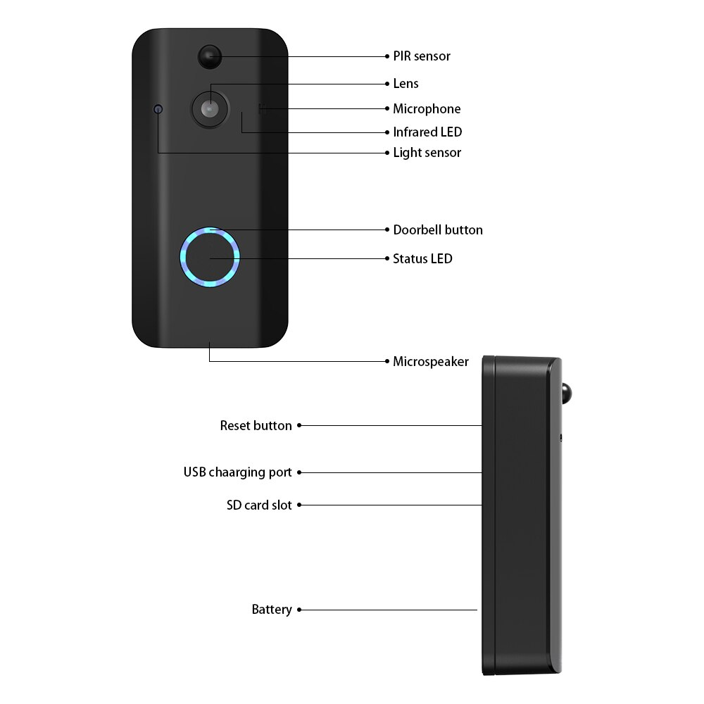 Simshine 1080P HD Video Doorbell Camera WiFi Wireless Doorbell Smart Home Door Bell Cameras Outdoor Video Intercom Two Way Audio enlarge