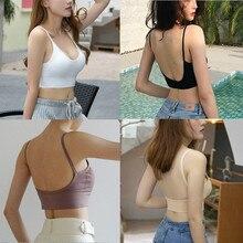 Womens Summer Vest Plain Strappy Back Tie Up Halter Neck Basic Bralet Bra Crop Top Solid Casual Elastic Tanks Tops