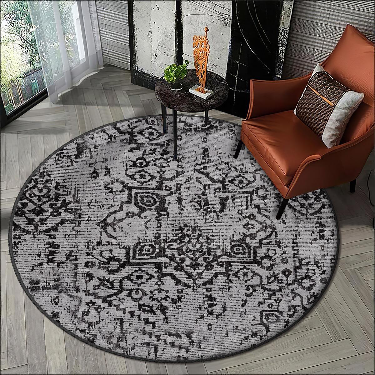Mordern grey living room carpet kitchen round carpet room carpet black ethnic patterns anti allergic high quality Free Shipping