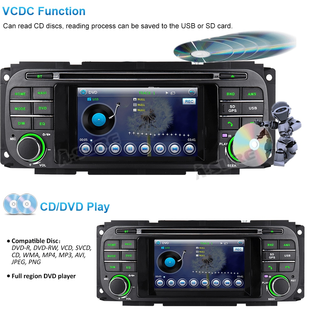 A-Sure 16GB ROM Car Multimedia Radio GPS DAB+ Bluetooth USB 3G+ DVD Navigation For Jeep Grand Cherokee Wrangler Dodge Chrysler