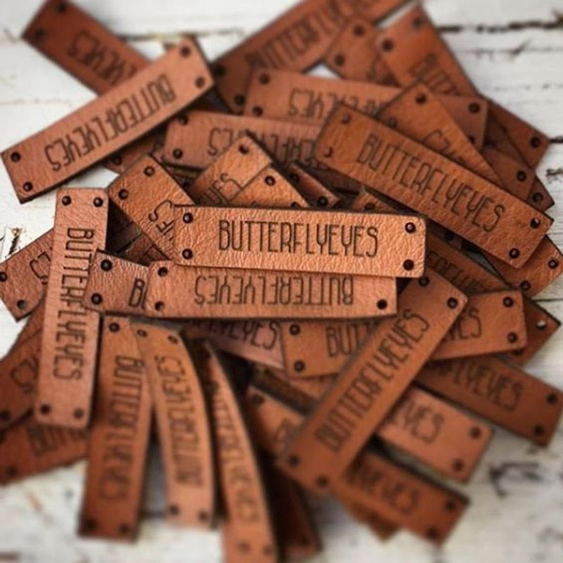 30pcs Handmade tags for crochet knittting items Sew on leather labels for clothes with brand logo DIY Accessories Clothing label yuki araki sew sweet handmade clothes for girls