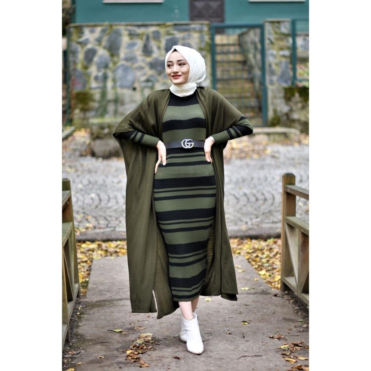 2 قطعة مجموعة المرأة مخطط ، فستان ماكسي و سترة بدلة مزدوجة للشتاء موضة إسلامية ملابس مسلمة تركيا دبي 2021