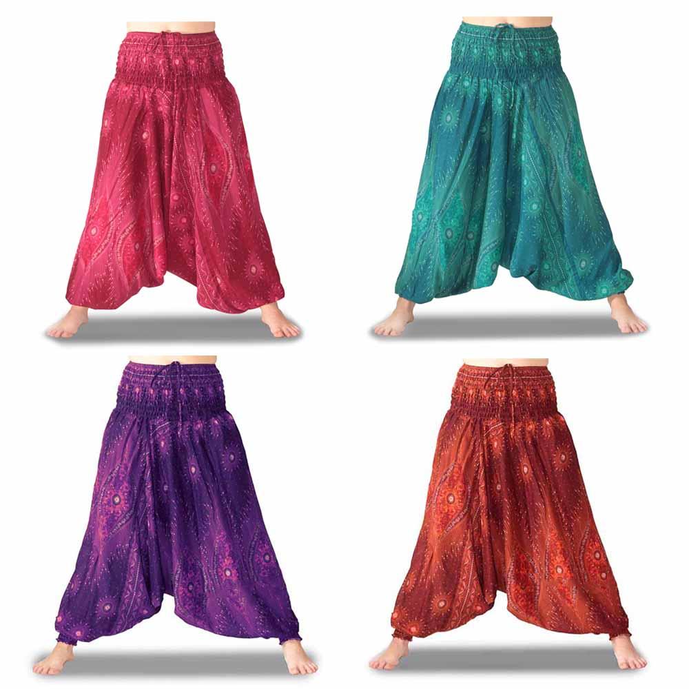 Pantalones afganos rayón hippies harem cagados estilo boêmio verano pantalones holgados transpiráveis estampas colores