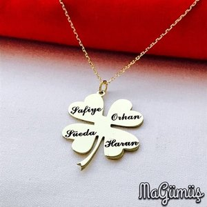 Clover Leaf Name Is Written To Order Produced Silver Necklace
