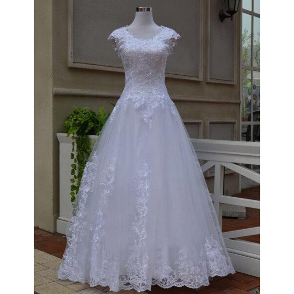 Promo Gorgeous Tulle A-Line Wedding Dresses O-Neck Cap Short Sleeve Sweep/Brush Train Bride Gowns Simple Pleats Appliques Lace Beading