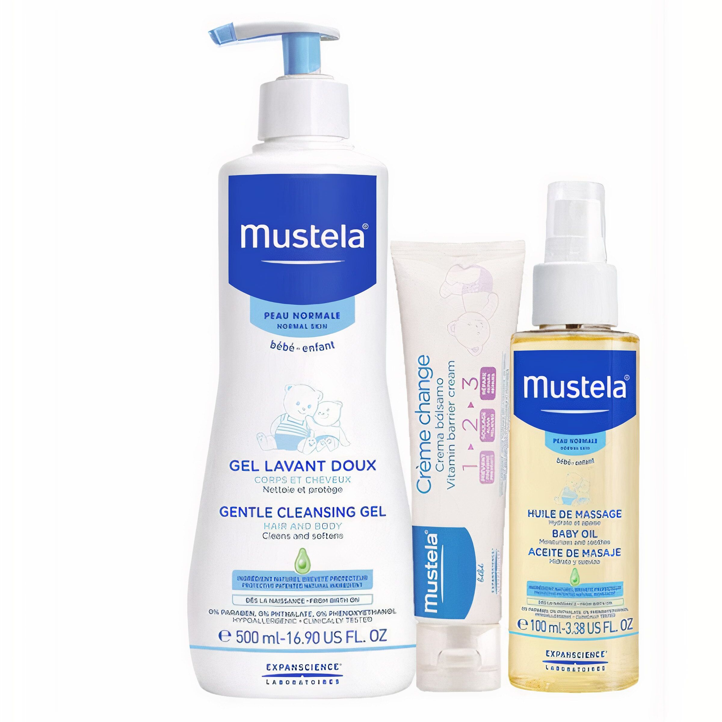 Mustela Baby Daily Solution Set (500ml. Damascus + 50ml.Pickle Cream + 100ml.Oil) | Mustela Baby Care Set Quality