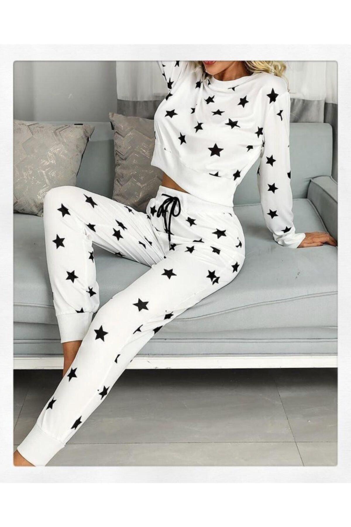 YENİ SEZON spor Kadın Beyaz Yıldızlı Pijama seti