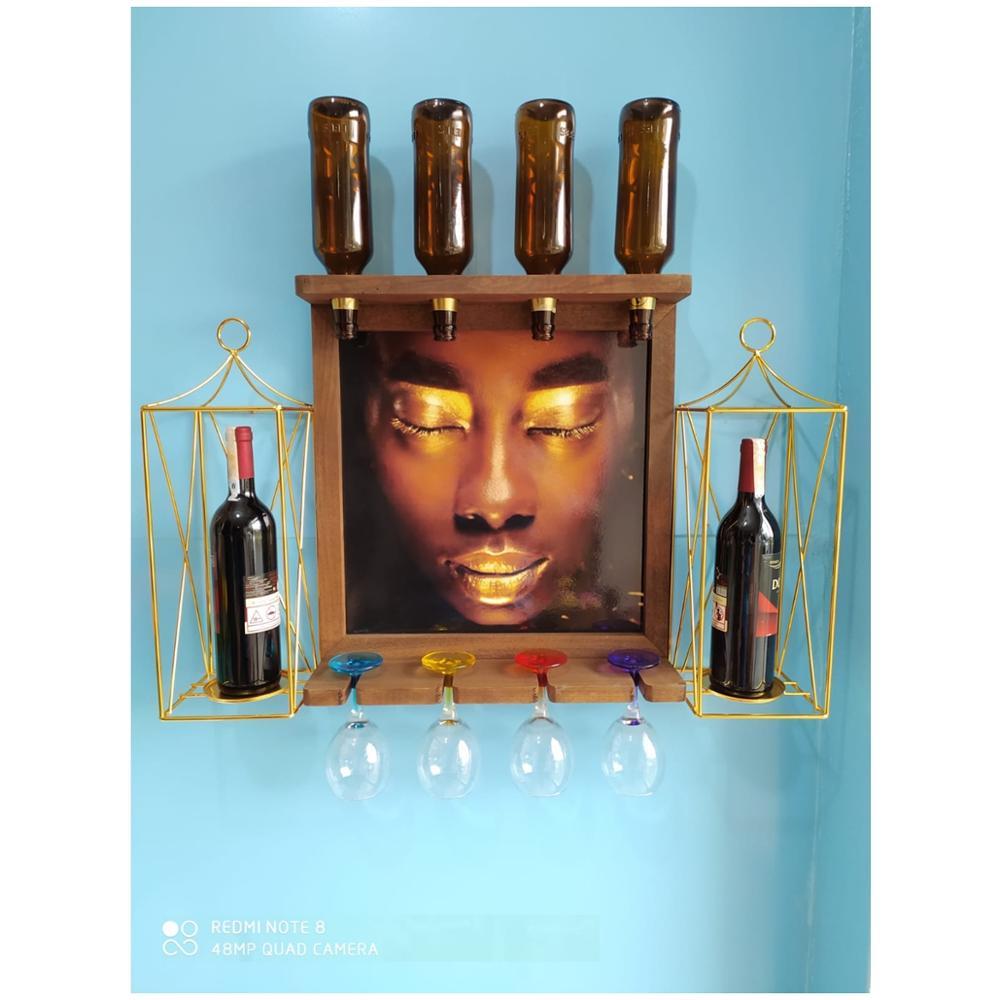 Cremalheira de Cerveja de Vinho Tinto de Madeira Suporte de Garrafa de Parede Titular do Cálice Suporte de Vela de Metal de Ouro Imagem Castiçal Flores Artificiais 4