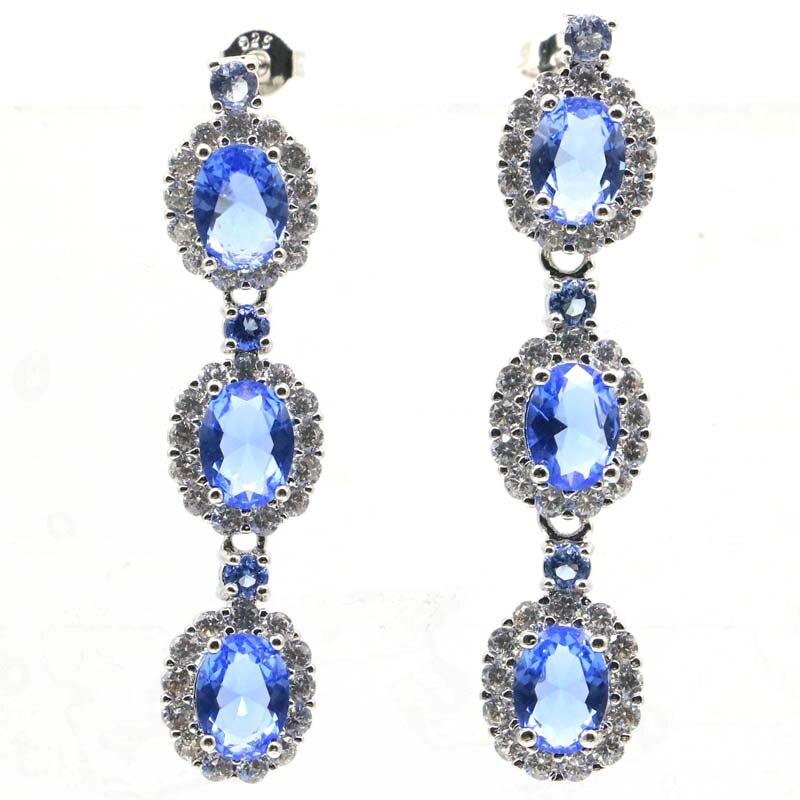 47x10mm impressionante criado rico azul violeta tanzanita branco cz mulher 2020 brincos de prata