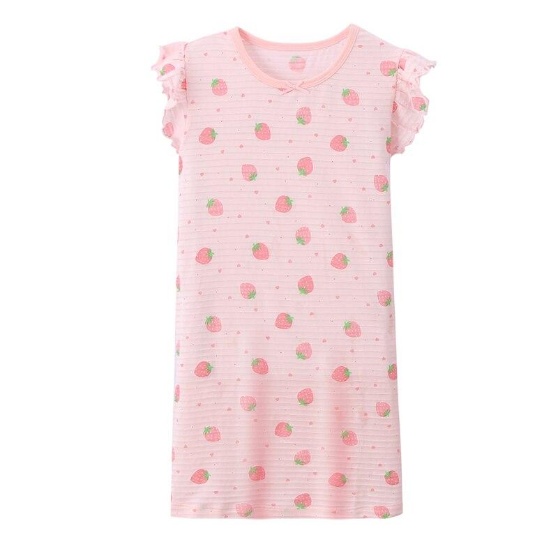 Детская Ночная рубашка 100% хлопковые пижамы летнее платье с коротким рукавом для девочек Детская ночная рубашка с милым рисунком удобная домашняя одежда для девочек