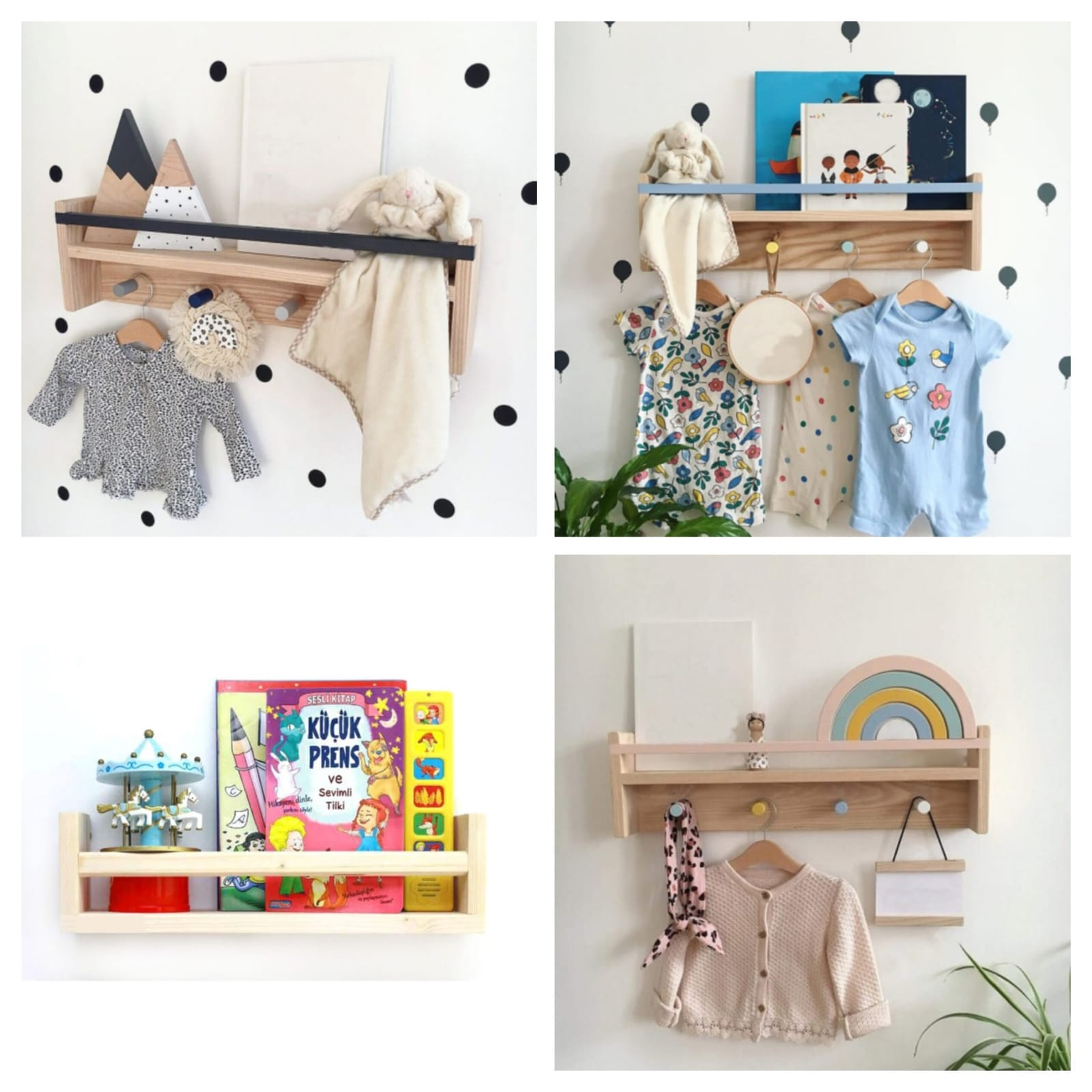 Child Bookshelf Bookcase Montessori 50 Cm 3 PCS/SET High quality Kids Room Library Furniture Wood Unpainted Natural Baby