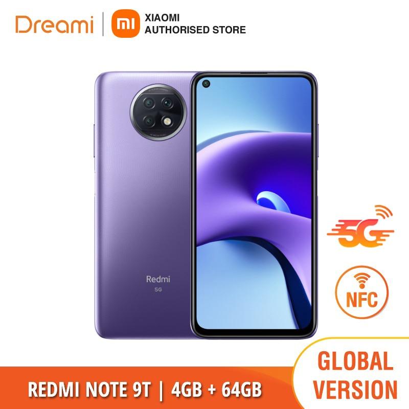 Xiaomi-الهاتف الذكي Redmi Note 9T ، الإصدار العالمي ، 64 جيجابايت ROM ، 4 جيجابايت من ذاكرة الوصول العشوائي ، NFC