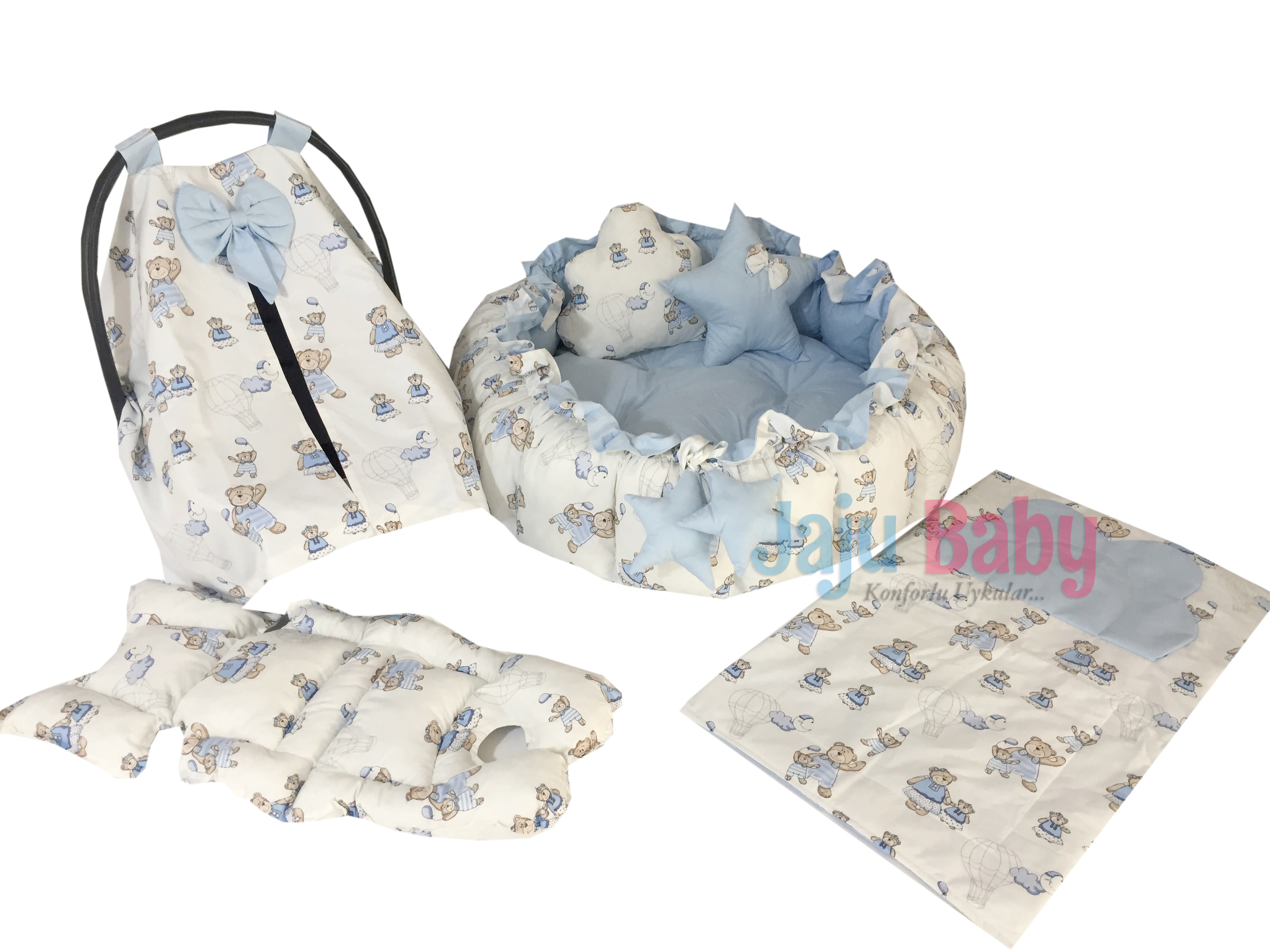Jaju Baby Blue Bear Pattern Set Design Luxury Play Mat Babynest , Maternal Baby Bed, Retractable Play Mat