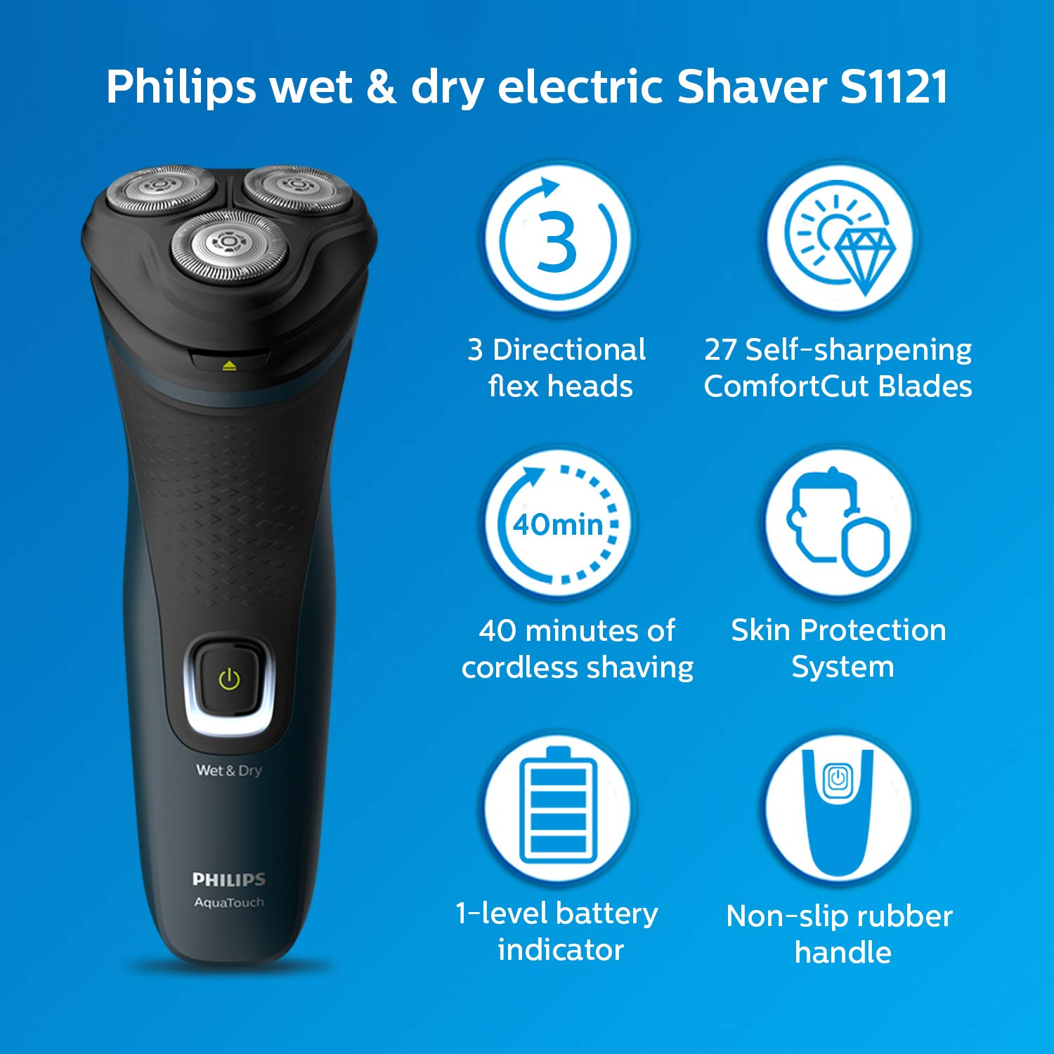 Philips Electric Shaver S1121/45, 3D Pivot & Flex Heads, 27 Comfort Cut Blades, Up to 40 Min of Shaving enlarge