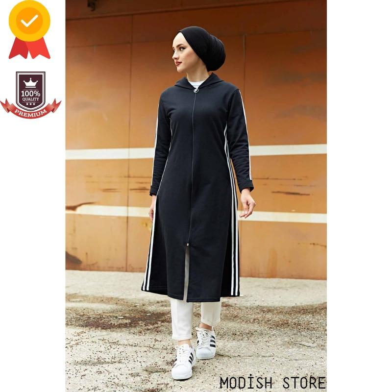 أحجام كبيرة هوديي Linerless الزي فستان مسلم النساء ملابس مسلمة قفطان عباية دبي الحجاب فستان تركيا الإسلام