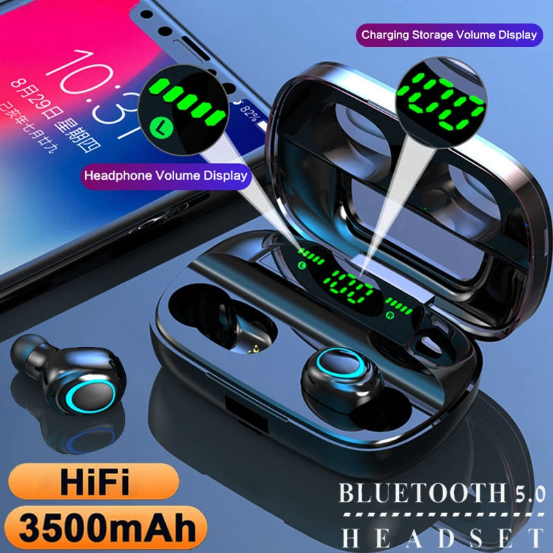 BEST TWS Bluetooth 5.0 Earphones Wireless Headphones Earbuds with 3500mAh Charging Box Noise Cancell