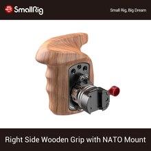 SmallRig sağ yan ahşap kolu kavrama + NATO montaj kelepçesi ile Arri rozet DSLR kamera kafesi ile Nato demiryolu 2117