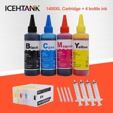 Kit dencre rechargeable ICEHTANK 4 bouteilles + cartouche dencre Compatible PGI1400 XL pour Canon PGI-1400 MAXIFY MB2040 MB2140 MB2340 MB2740