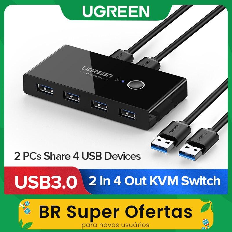 Ugreen USB KVM Switch USB 3.0 2.0 Switcher KVM Switch for Windows10 PC Keyboard Mouse Printer 2 PCs Sharing 4 Devices USB Switch