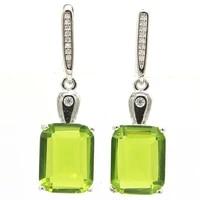 37x11mm luxury 8 1g green peridot new stone iolite cz bride wedding 925 sterling silver earrings drop shipping