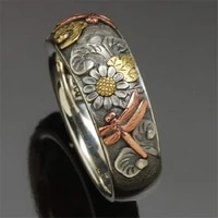fashion jewelry%ef%bc%8cnew products sell well with retro carved ring flower dragonfly sunflower ring