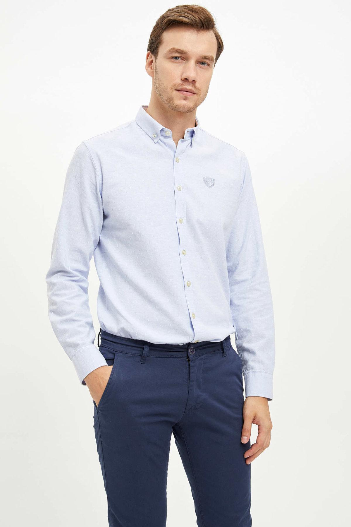 De hecho los hombres Formal Simple Color puro solapa para cuello de camisa tejida Top, camiseta de manga larga de negocios casuales, ropa Shirt-L0673AZ19AU