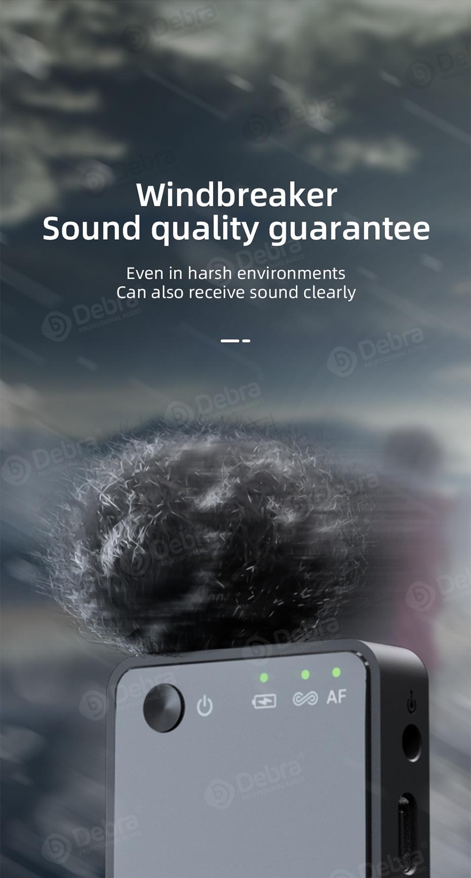 Debra GO-PROII Portable Charging Wireless Lavalier Microphone 100m Range For DSLR Camera Interview, Speech,Video Recording. enlarge