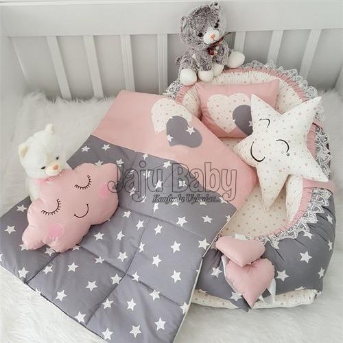 Jaju الطفل اليدوية مسحوق و رمادي ستار تصميم فاخر العظام Babybest 5 قطعة طقم سرير الأم الجانب المحمولة سرير بيبي
